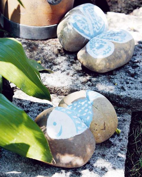 Flintsteine Innen Außendekoration Fisch Garten