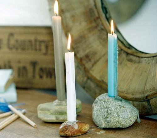 Stilistische Flintsteine Innen Außendekoration Kerzenhalter Tisch