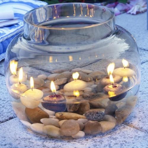 Flintsteine Innen Außendekoration Vase Kerze
