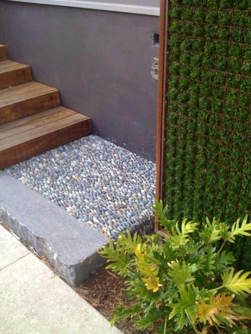 Flintsteine Innen Außendekoration kleine Terrasse