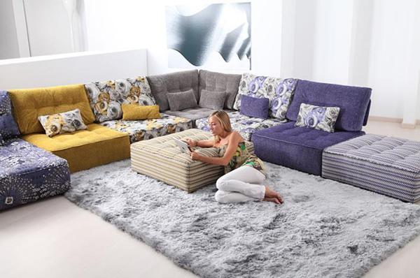 Tiefsitz-Ideen Möbeln Wohnzimmer Fama Teppich Kissen