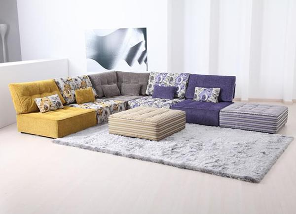 Tiefsitz Ideen Möbeln Wohnzimmer Fama gelb blau