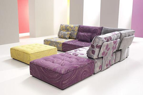 Tiefsitz Ideen Möbeln Wohnzimmer Fama lila gelb