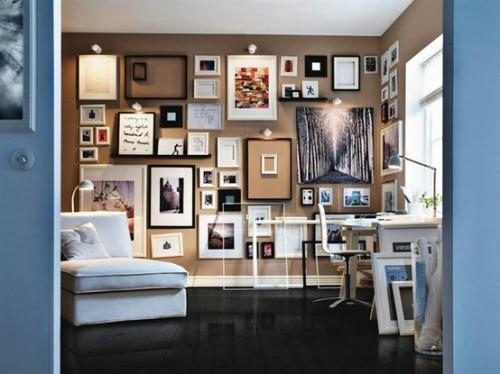 Toller Arbeitsplatz im Wohnzimmer - Inspirationen zur Wanddekoration