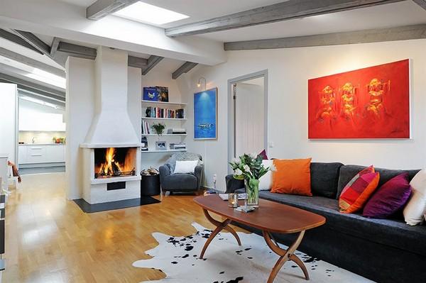 Wohnzimmer Designs-hypnotisierendem Effekt graues Sofa Kamin