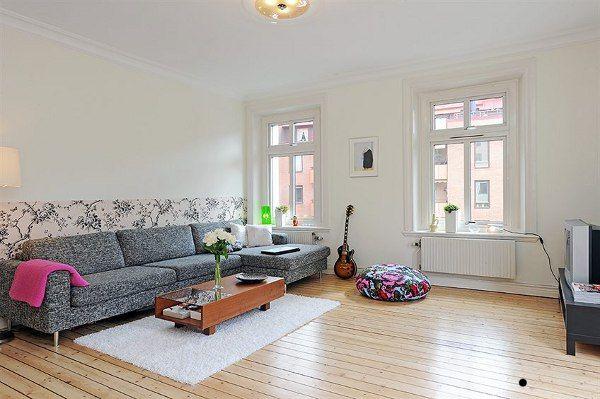 Wohnzimmer Designs hypnotisierendem Effekt graues Ecksofa