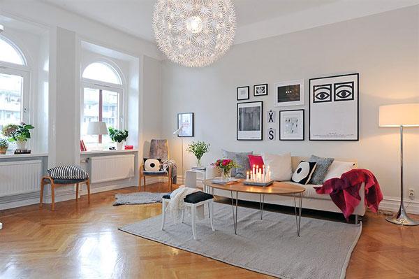 Wohnzimmer-Designs hypnotisierendem Effekt weißes Interieur