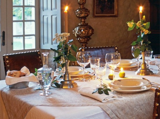abend essen glühend kerzen lederstühle elegant frankreich stil idee
