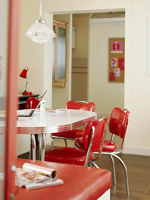 abendessen stil bereich küche retro glanzvoll rot