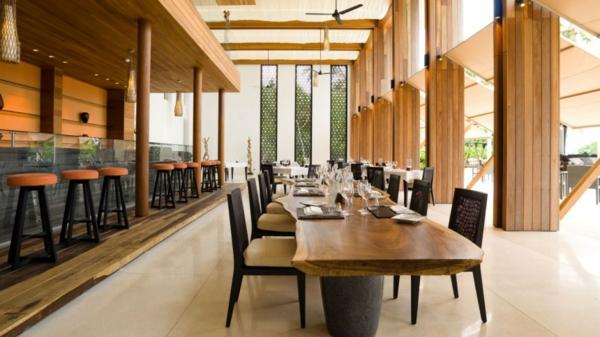 alila-villas hadahaa resort haus restaurant ausstattung