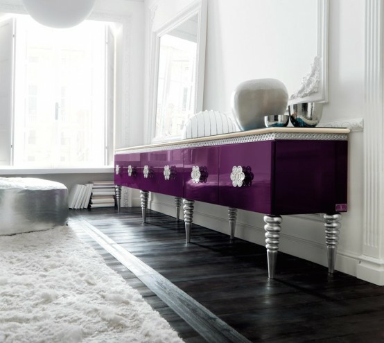 eszimmer einrichtung  designer kommode lila silber beine
