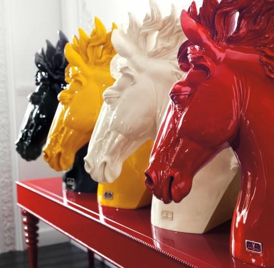 eszimmer einrichtung designer pferde köpfe