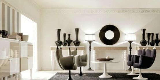 eszimmer einrichtung designer schwarz weiß