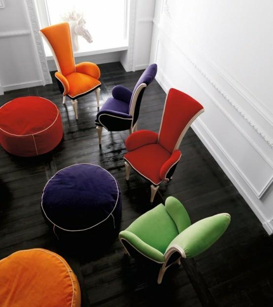 altamoda eszimmer interieur designer stühle farbenfroh boden kissen