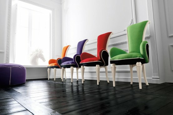 eszimmer interieur designer stühle farbenfroh