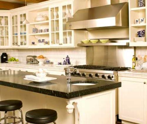 altmodische küchen insel idee grün grau