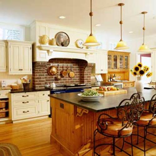 altmodische küchen ziegel wand küchenspiegel