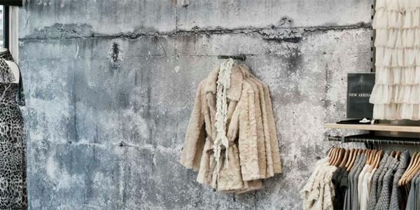 ankleideraum idee betontapeten mäntel damen haus modern
