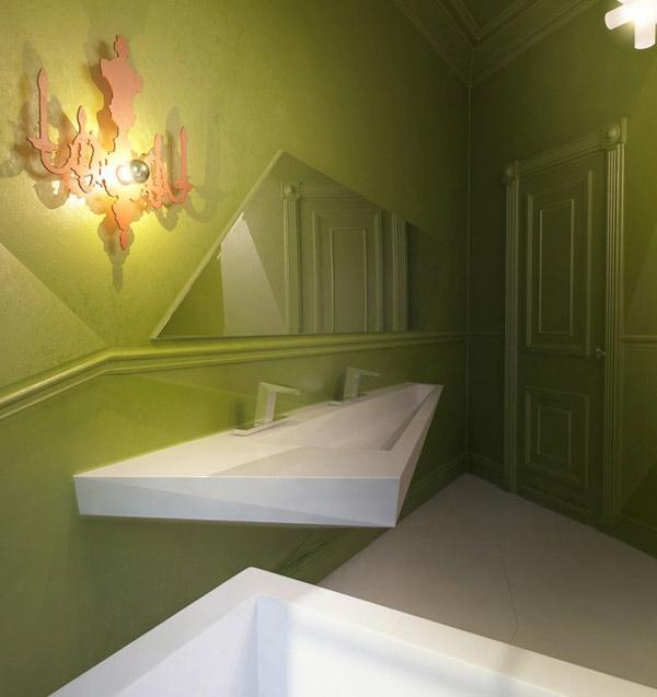 avantgarde badezimmer eckig design grün wände