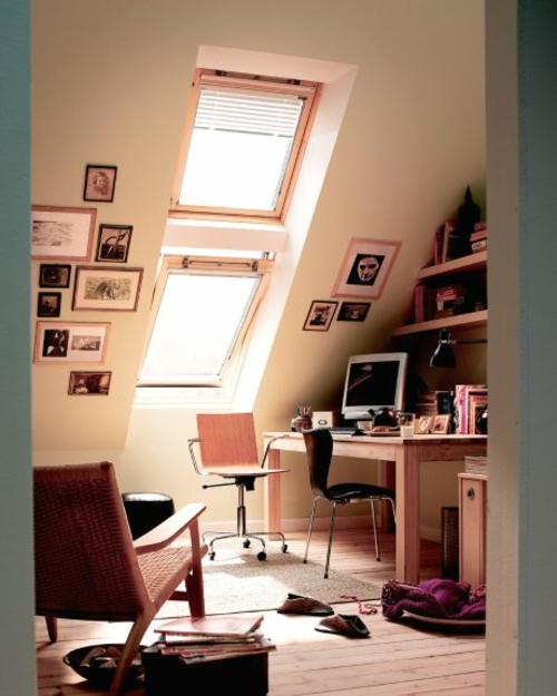 büro im dachgescoss weiß modern korbstuhl dachfenster