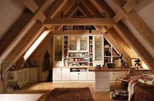 büro im dachgescoss weiß modern wandregale