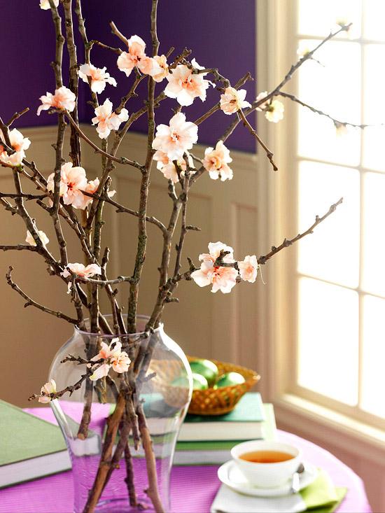 blüten zweige vase glas ostern deko idee Dekoration zu Ostern