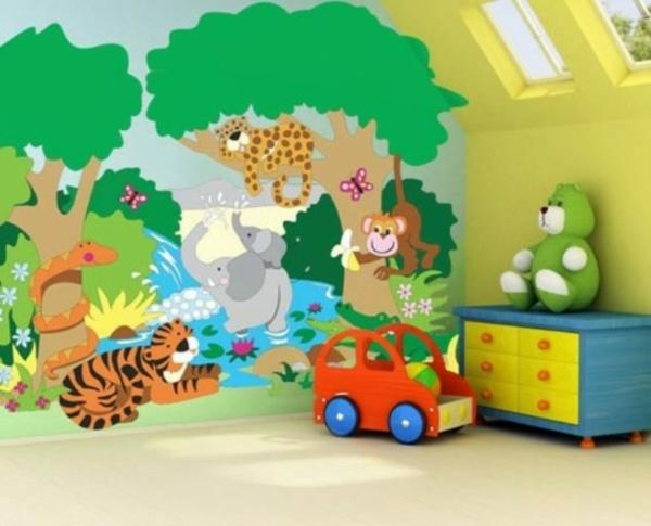 Lustige dschungel dekoration im kinderzimmer 15 sch ne for Deko babyzimmer wand