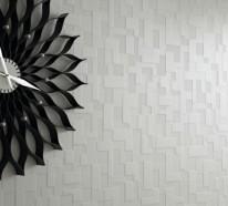 Moderne tapete grau  Moderne monochrome Tapeten mit 3D-Effekt – Form und Design von ...
