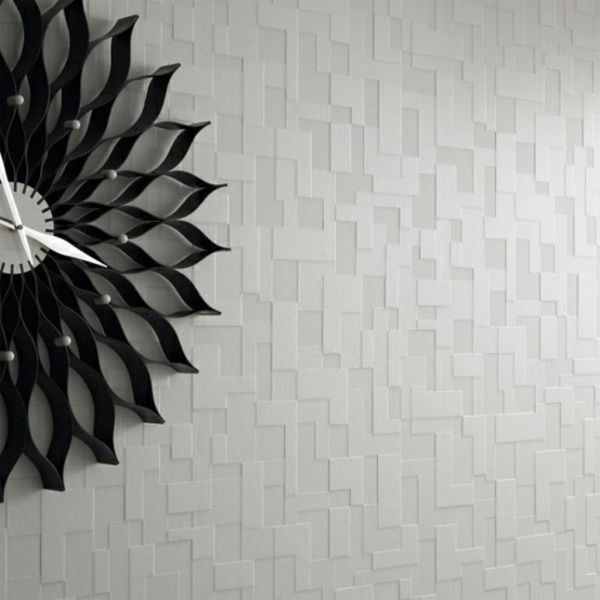 Graue Tapete Wei?e Punkte : Moderne monochrome Tapeten mit 3D-Effekt ? Form und Design von