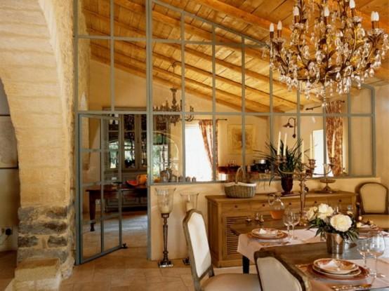 dachgeschoss esszimmer holz zimmerdecke französisch stil originell