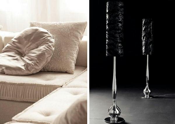 deko elemente weiße kissen schwarze lampen