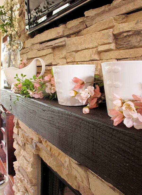 deko kaminsims rosa blüten