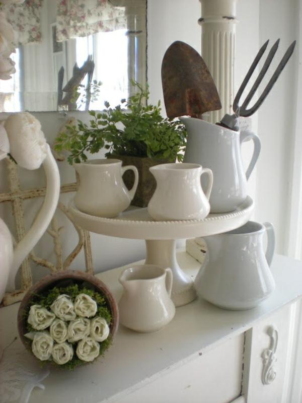 deko kaminsims weiße teekannen petersilie