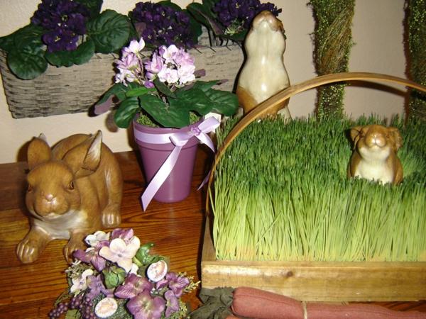 deko ostern porzellan osterhasen blumentopf lila gras frisch