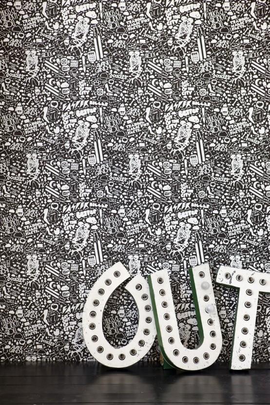 deko tapet klein muster details schwarz weiß art