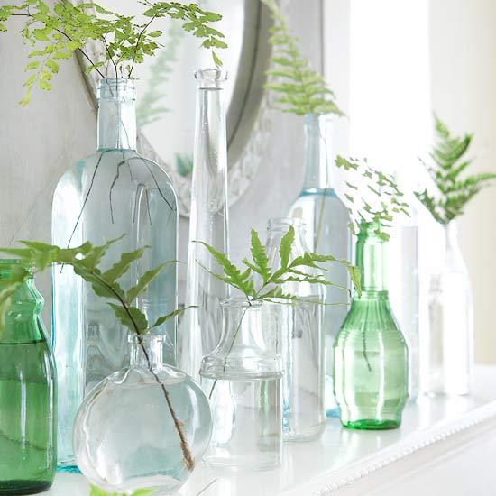 dekoration zu ostern selber machen gläsern vase pflanzen tisch