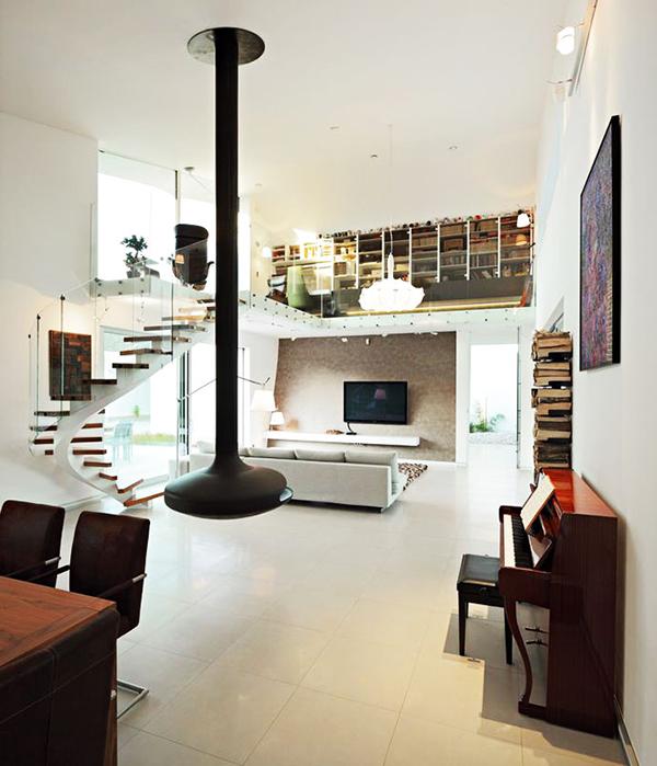 designer haus 04 projekt architektur treppenhaus wandregale
