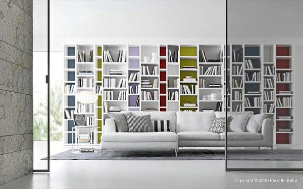 Designer Regale Bücher Modern Weiß Sofa Wand