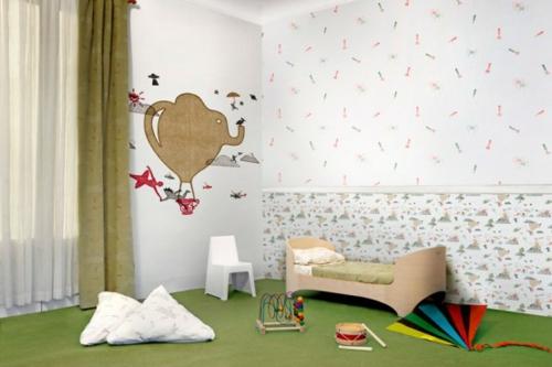 designer tapeten im kinderzimmer grün illustration spielzeuge