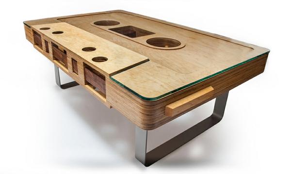 32. Designer Tisch Kassettenband Jeff Skierka Glasscheibe