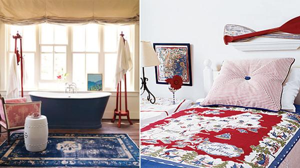 dreifarbige designs rot weiß blau badewanne schlafraum idee