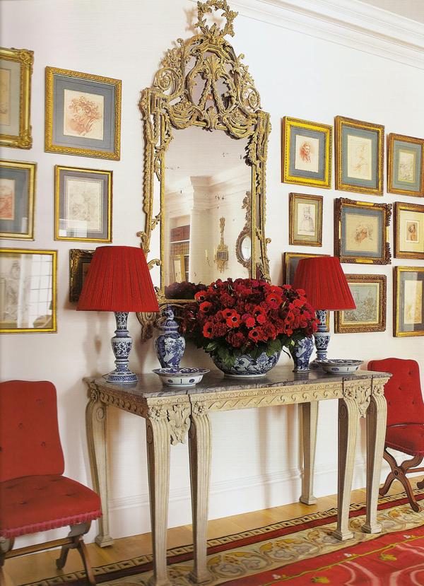 dreifarbige interieur rot weiß blau flur altmodisch elegant