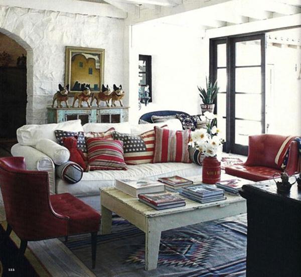 dreifarbige designs rot weiß blau flur gemütlich wohnzimmer