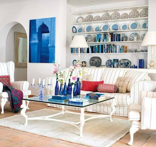 dreifarbige designs rot weiß blau flur orientalisch motive