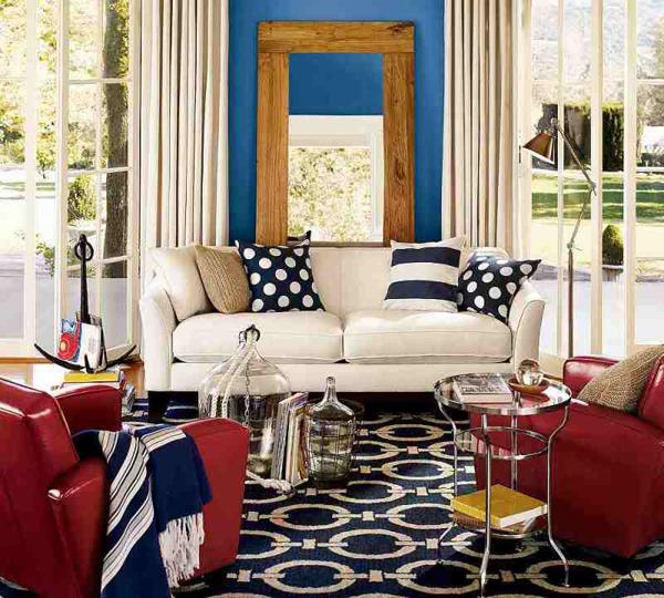 dreifarbige designs rot weiß blau flur wohnecke sofa kissen streifen