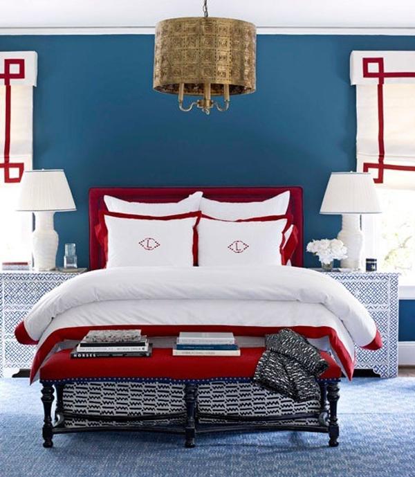 dreifarbige innendesign rot weiß blau schlafzimmer