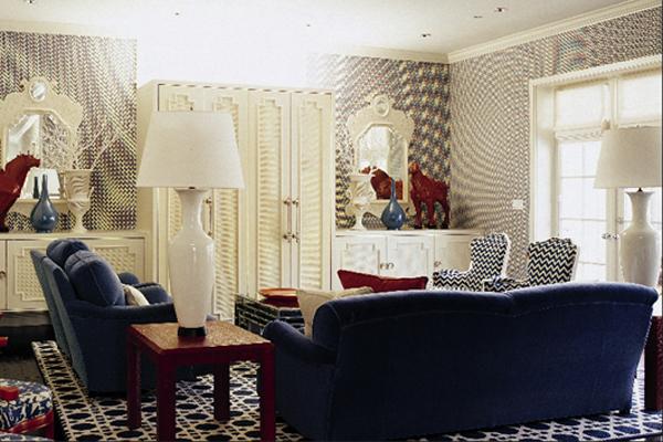 dreifarbige designs rot weiß blau wohnbereich extravagant