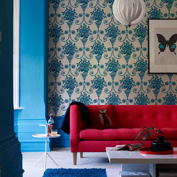 dreifarbige designs rot weiß blau wohnzimmer tapeten