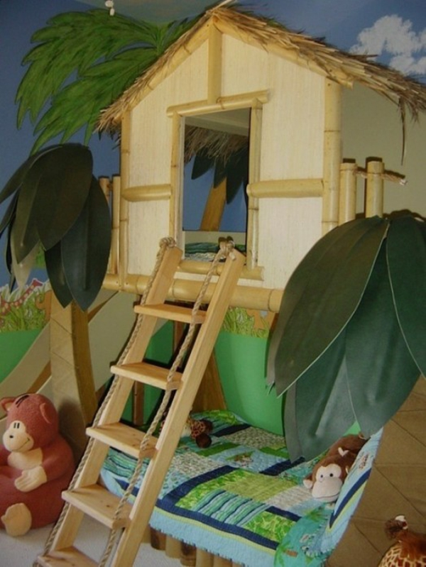 Kinderzimmer Im Baumhaus Style : Lustige dschungel dekoration im kinderzimmer sch?ne