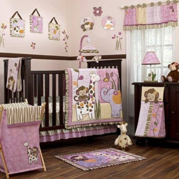 dschungel dekoration im kinderzimmer rosa braun